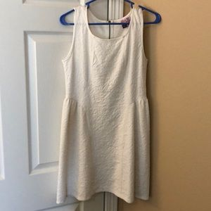 White mini dress, fit and flare style